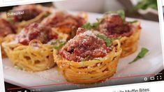 Spagettimuffinssit ovat nerokas tapa tarjoilla klassikkoherkkua. Copyright: Kuvakaappaus: YouTube. Kuva: Kuvakaappaus: YouTube.