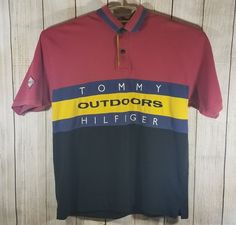 Vintage Tommy Hilfiger Outdoors Colorblock Spell Out Polo Shirt XL #TommyHilfiger #PoloRugby