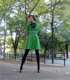 Green Dress and Navy Tights & scarf Navy Tights, Green Tights, Tights Outfit, Summer Outfits, Cute Outfits, Winter Outfits, Pantyhose Outfits, Colourful Outfits, Green Dress