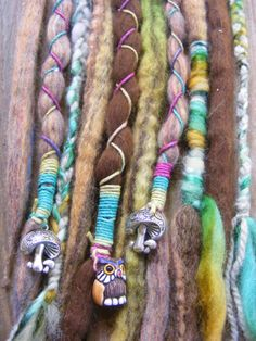 8 SE Woodland Themed Wool Dreads Dreadlock extensions, with hemp & yarn wraps, wood beads, yarn braids & mushroom & owl charms.