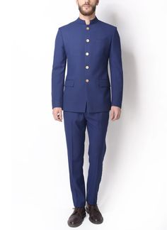 Dapper Solid Blue Bandhgala Jacket is part of Wedding dress men - Shop Dapper Solid Blue Bandhgala Jacket from Alvin Kelly Cotton Exhibiting textured finish with perfect style Cut in slim fit for great comfort Wedding Dresses Men Indian, Wedding Dress Men, Wedding Outfits, Dapper Suits, Mens Suits, 3 Piece Suit Slim Fit, Prince Suit, African Wear Styles For Men, Kurta Men