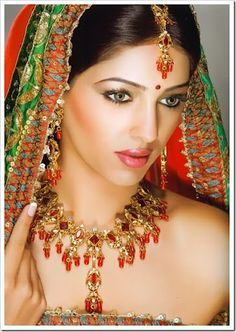 Indian Bride in green and red