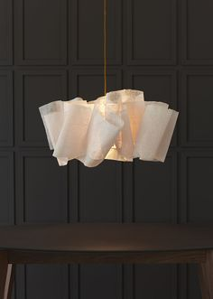 Anders light by Pinch Design. Sculpted from layers of banana fibre, draped and stitched around the central light fixing. Interior Lighting, Lighting Design, Pendant Lamp, Pendant Lighting, Diy Luminaire, Mirror With Lights, Ceiling Lamp, Ceiling Lighting, Wall Lamps