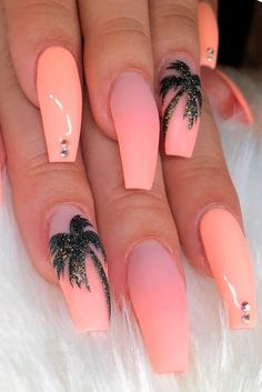 Peach Nails With Tropic Print ★ Easy, cute and fun summer nail designs are waiting for you to get inspired with. Make sure that you greet the beach season right! nails 57 Special Summer Nail Designs For Exceptional Look Nail Design Glitter, Peach Nails, Peach Nail Colors, Peach Nail Art, Gold Nail Art, Orange Nails, Fire Nails, Best Acrylic Nails, Holiday Acrylic Nails