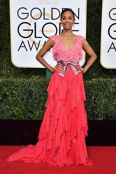 Zoe Saldana in Gucci at the 2017 Golden Globes