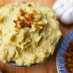 Vegan 'Cheesy' Garlic Mashed Potatoes and Bacon Bits