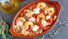Shrimp with Tomatoes and Feta Seafood Dishes, Fish And Seafood, Shrimp Recipes, Fish Recipes, Cod Recipes, Shrimp Saganaki Recipe, Snacks Sains, Greek Dishes, Mediterranean Diet Recipes