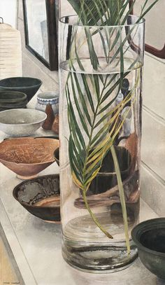 Cressida Campbell, Australia (b.1960) • Palm Fronds with Bowls 2017 • Unique woodblock print • Purchased by Hamilton Gallery Trust Fund • 2017.009 #woodblock #print Australian Painting, Australian Art, National Art School, Illustrations And Posters, Woodblock Print, Asian Art, Art Blog, Art Reference, Flower Power