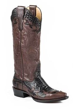 Stetson Women's Bailey Brown Tall Snip Toe Cowgirl Boots - HeadWest Outfitters