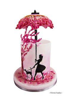 A girl and Dog under umbrella cake #Tart #Cake #Foodstyle