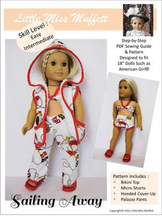 New at PixieFaire! Sailing Away: bikini top, micro shorts, hooded cover-up, & palazzo pants by Little Miss Muffet