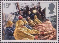 Fishing 18p Stamp (1981) Hauling Trawl Net