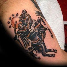 40 Traditional Horse Tattoo Designs For Men - Retro Ink Ideas Pirate Tattoo Traditional, Traditional Tattoo Design, Traditional Tattoo Flash, American Traditional Tattoos, Old School Tattoo Designs, Tattoo Designs Men, Death Tattoo, Reaper Tattoo, Traditional Tattoo Inspiration