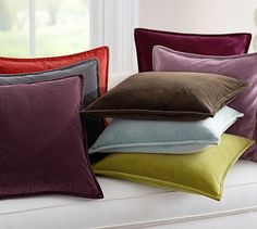 GRAY PILLOWS (2) FOR SOFA (4) for WINDOW SEAT Washed Velvet Pillow Cover #potterybarn