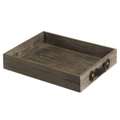 "CC Home Furnishings 17.75"" Country Rustic Antique-Style Wooden Decorative Serving Tray with Handles"