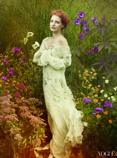 Maybe wedding collection photo shoot with a shakespeare them such as midsummers night?  Jessica Chastain by Annie Leibovitz for Vogue US December 2013