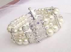 multi strand bridal bracelet pearl wedding bracelet by nellylukan, $48.00