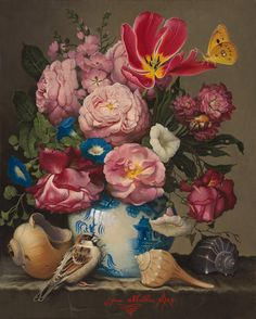 Flowers with Asian Vase - Yana Movchan. Painted in the style of the Dutch masters.