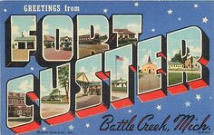FORT CUSTER, Battle Creek, Michigan  LARGE LETTER LINEN  Curteich 1940s Postcard