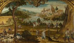 Summer about 1525, Hans Wertinger | Country people of different social classes are shown going about tasks associated with the summer months, including sheep shearing, hunting and fishing. The painting, framed by an elaborate gilded arch, was probably part of a room decoration
