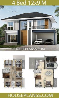 Modern House Floor Plans, 3d House Plans, Model House Plan, Duplex House Plans, Small House Plans, 4 Bedroom House Designs, 4 Bedroom House Plans, Bungalow House Design, Small House Design