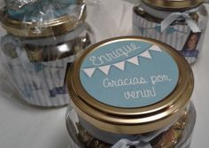 Souvenirs Personalizados con frascos de vidrios. Club, Facebook Sign Up, Rey, Candle Jars, Baby Shower, Ideas, Event Organization, First Year, Tags