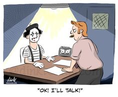 Ok I'll talk - mime cartoon by Dink