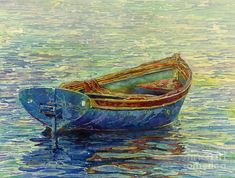 Rowboat Painting - Coastal Lullaby by Hailey E Herrera Oil Pastel Paintings, Watercolor Paintings, Watercolors, Batik Art, Artwork For Home, Beautiful Textures, Watercolor Cards, Stretched Canvas Prints, Fine Art America