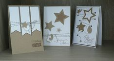 Cartes de Noël/voeux 2 Christmas Cards To Make, Christmas Items, Handmade Christmas, Star Cards, Snowflake Cards, Cardboard Crafts, Diy Cards, Stampin Up Cards, Mini Albums