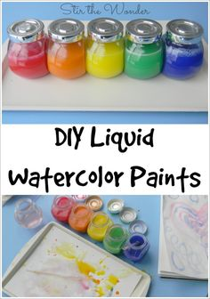 These DIY Liquid Watercolor Paints use a common kid's art supply  and is so easy to make a preschooler could do it! | Stir the Wonder