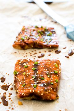 Teriyaki Baked Salmon. I would use parchment paper in place of tinfoil.