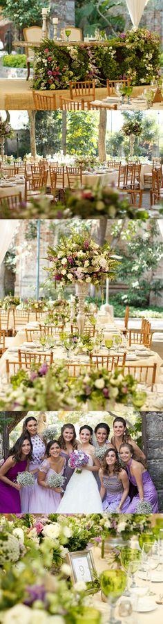 Wedding Decoration in Green Lilac and Purple (in a garden) Lilac Bridesmaids Decoración de boda en colores verde blanco lila y morado. Damas en lila y morado Para un boda en jardín o hacienda.