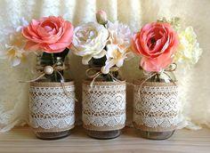 burlap and lace shabby chic mason jar vase deocration | We Heart It