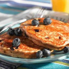 Carnation Whole Wheat Blueberry Pancakes (Plus 1 t. cinnamon & 1 t. vanilla? Suggestion from a reviewer.)