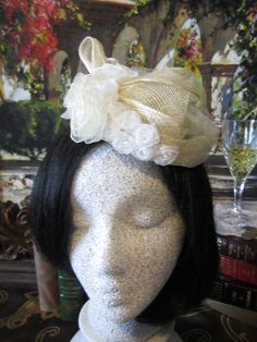 Cream Sinamay Fascinator, White Roses, Sinamay bow, Wedding Fascinator, Fascinator, Flower Fascinator, Accessories by AshTreeMeadowDesigns on Etsy