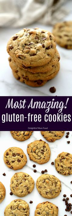 Gluten Free Chocolate Chip Cookies with a chewy thick center! These gluten free chocolate chip cookies don't fall apart, are incredibly moist, & oozing with Healthy Gluten Free Recipes, Healthy Dessert Recipes, Gluten Free Desserts, Quick Dessert, Healthy Cookies, Easy Recipes, Best Cookie Recipes, Baking Recipes, Gluten Free Chocolate Chip Cookies