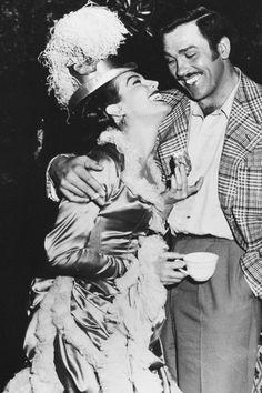 Ava Gardner and Howard Keel behind the scenes filming Showboat