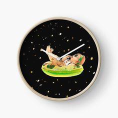 'Just Chilling Baby' Clock by Modern Prints, Art Prints, Nasa Photos, Quartz Clock Mechanism, Free Stickers, Hand Coloring, Clocks, Chill, My Arts