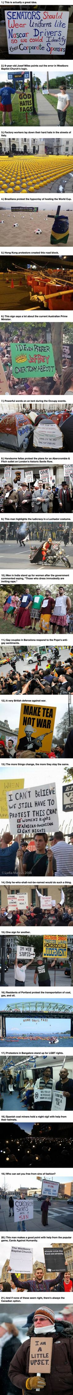 21 Peaceful Protestors Who Used Their Brains To Make Their Case, Not Brawn.