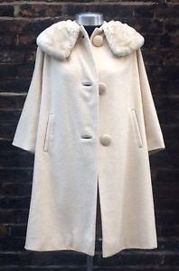Vintage 1960s Glam Cream Wool Lined Handmade Coat UK 8/6