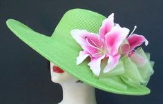 """Apple Green 5"""" Brim/Pink Lily by HAT-A-TUDE for the Oaks Race"""