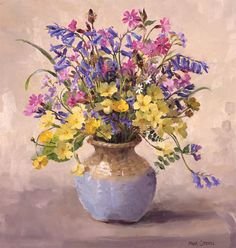 Bluebells, campions and primroses by Anne Cotterill