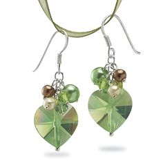 Crystal Irish at Heart Earrings Sterling Hooks - Earrings, Necklaces, Rings, Bracelets, Pendants and More - Unique Jewelry at Affordable Pri...
