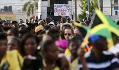 Thousands of Jamaicans hold a demonstration against the local LGBT community in Half Way Tree, Kingston, June 29, 2014. REUTERS/Gilbert Bell...