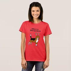 Reindeer Christmas Beagle T-Shirt - dog puppy dogs doggy pup hound love pet best friend