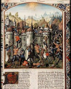 Capture of Jerusalem by Antiochus; soldiers storm the walls. ean de Courcy, La Bouquechardière. Place of origin, date: Rouen (text); castle of Carlat, Master of Jacques d'Armagnac (illuminator); before 1476.
