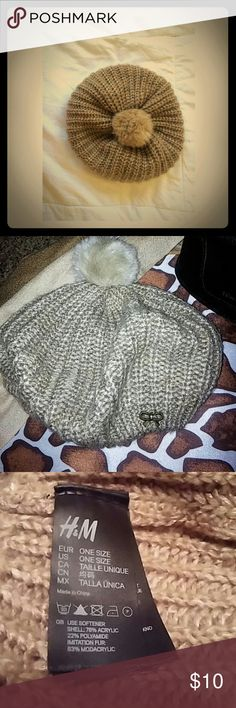 H&M tan Knitted beanie with furball on top Knit beanie H&M Accessories Hats
