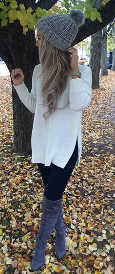 cozy fall inspiration / hat + white sweater + skinnies + over the knee boots