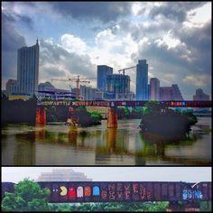 Austin...rain, rain, rain. My walk through Zilker turned into a dance in the rain. I walk past this train bridge every day and smile reading the graffiti - Pac Man: Never give up....