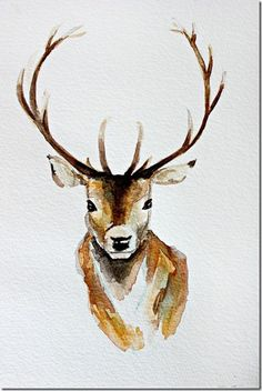 deer and antlers watercolor illustration Watercolor Animals, Watercolor Print, Watercolor Paintings Tumblr, Watercolor Images, Watercolor Fashion, Watercolor Design, Watercolour Painting, Inspiration Art, Art Inspo